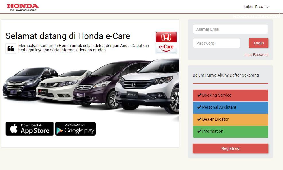 laman depan layanan Honda e-Care